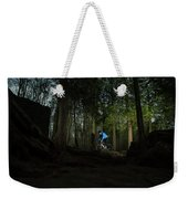 Cyclist In Mountain Forest Weekender Tote Bag