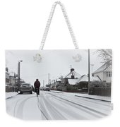 Cyclist In The Snow Weekender Tote Bag by Tom Gowanlock