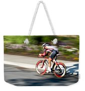 Cyclist Racing The Clock Weekender Tote Bag