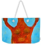 Cyprus Goddess With The Lifted Hands Weekender Tote Bag by Augusta Stylianou