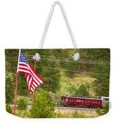 Cyrus K. Holliday Rail Car And Usa Flag Weekender Tote Bag
