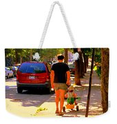 Daddy's Little Buddy Perfect Day Wagon Ride Montreal Neighborhood City Scene Art Carole Spandau Weekender Tote Bag