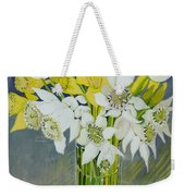 Daffodils And White Tulips In An Octagonal Glass Vase Weekender Tote Bag