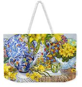 Daffodils Antique Jugs Plates Textiles And Lace Weekender Tote Bag