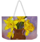 Yellow Daffodils On Purple Weekender Tote Bag