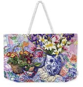 Daffodils Tulips And Iris In A Jacobean Blue And White Jug With Sanderson Fabric And Primroses Weekender Tote Bag