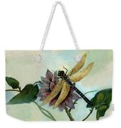 Dahlia With Dragonfly Resting Weekender Tote Bag
