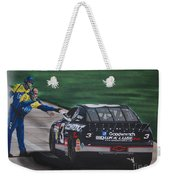 Dale Earnhardt Wins Daytona 500-pit Road Hand Shake Weekender Tote Bag