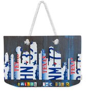 Dallas Texas Skyline License Plate Art By Design Turnpike Weekender Tote Bag by Design Turnpike