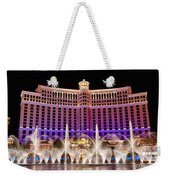Dancing Waters - Bellagio Hotel And Casino At Night Weekender Tote Bag