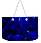 Dark Blue Leaves Weekender Tote Bag