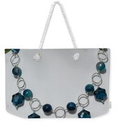 Dark Turquoise Crystal And Faceted Agate Necklace 3676 Weekender Tote Bag