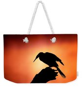 Darter Silhouette With Misty Sunrise Weekender Tote Bag