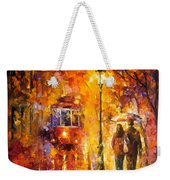 Date By The Trolley - Palette Knife Oil Painting On Canvas By Leonid Afremov Weekender Tote Bag