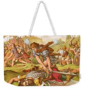 David Slaying The Giant Goliath Weekender Tote Bag by English School