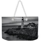 Dawn At Portland Head Light Bw Weekender Tote Bag by Susan Candelario