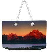 Dawn Light On The Tetons Grant Tetons National Park Wyoming Weekender Tote Bag