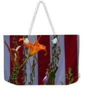 Daylily And Old Glory Weekender Tote Bag