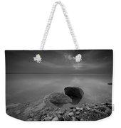 Dead Sea Sunrise Black And White Weekender Tote Bag by David Morefield