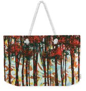 Decorative Abstract Floral Bird Landscape Painting Forest Of Dreams II By Megan Duncanson Weekender Tote Bag by Megan Duncanson