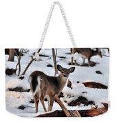 Deer And Snow Weekender Tote Bag