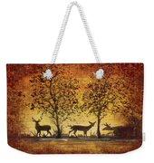 Deer At Sunset On Damask Weekender Tote Bag