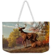 Deer On An Autumn Lakeshore  Weekender Tote Bag