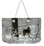 Deer On Snowy Trail Weekender Tote Bag