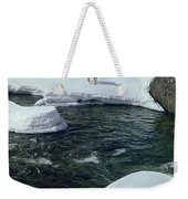 104618-v-deer On The Snow Bank Weekender Tote Bag