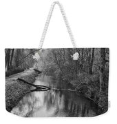 Delaware Canal In Black And White Weekender Tote Bag