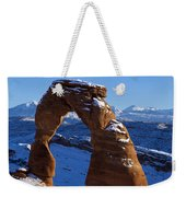 Delicate Arch In Snow Arches National Park Utah Weekender Tote Bag