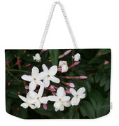 Delicate White Jasmine Blossom With Green Background  Weekender Tote Bag