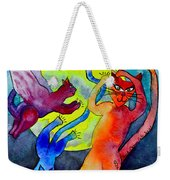 Demon Cats Dance By The Light Of The Moon Weekender Tote Bag by Beverley Harper Tinsley