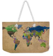 Denim Map Of The World Jeans Texture On Worn Canvas Paper Weekender Tote Bag