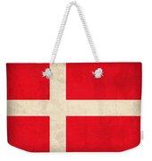 Denmark Flag Vintage Distressed Finish Weekender Tote Bag by Design Turnpike
