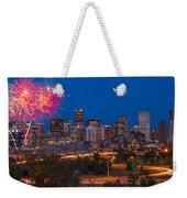 Denver Skyline Fireworks Weekender Tote Bag