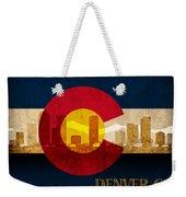 Denver Skyline Silhouette Of Colorado State Flag Canvas Weekender Tote Bag
