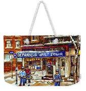Depanneur Arret Eclair Verdun Rue Wellington Montreal Paintings Original Hockey Art Sale Commissions Weekender Tote Bag
