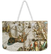 Departure From Lisbon For Brazil Weekender Tote Bag by Theodore de Bry