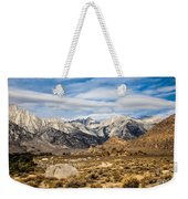 Desert View Of Majestic Mount Whitney Mountain Peaks With Clouds Weekender Tote Bag