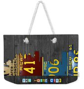 Detroit Michigan City Skyline License Plate Art The Motor City Weekender Tote Bag by Design Turnpike