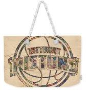 Detroit Pistons Poster Art Weekender Tote Bag