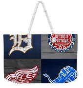 Detroit Sports Fan Recycled Vintage Michigan License Plate Art Tigers Pistons Red Wings Lions Weekender Tote Bag