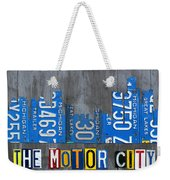 Detroit The Motor City Skyline License Plate Art On Gray Wood Boards  Weekender Tote Bag