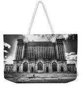 Detroit's Abandoned Michigan Central Train Station Depot In Black And White Weekender Tote Bag