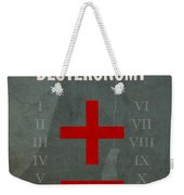Deuteronomy Books Of The Bible Series Old Testament Minimal Poster Art Number 5 Weekender Tote Bag by Design Turnpike