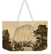 Devils Tower National Monument Between Trees Wyoming Usa Rustic Weekender Tote Bag by Shawn O'Brien