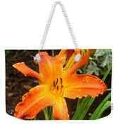 Dew Drops On Golden Lily Weekender Tote Bag