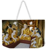 different sitting Buddhas in a circle in SHWEDAGON PAGODA Weekender Tote Bag