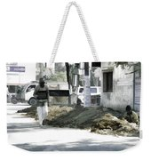 Digging A Ditch At The Side Of A Road In Roorkee Weekender Tote Bag
